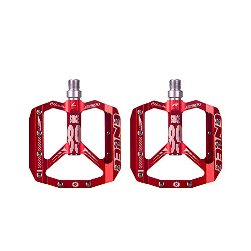 ENLEE Mountain Bike Pedal MTB Pedals 3 Bearing Non-Slip Lightweight Aluminium AlloyBicycle Platform Pedals for BMX MTB 9/16' (RED)