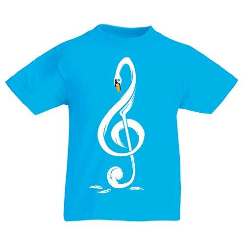 N4369K La Camiseta de los niños G Clave Musical (7-8 Years Azul Claro Multicolor)