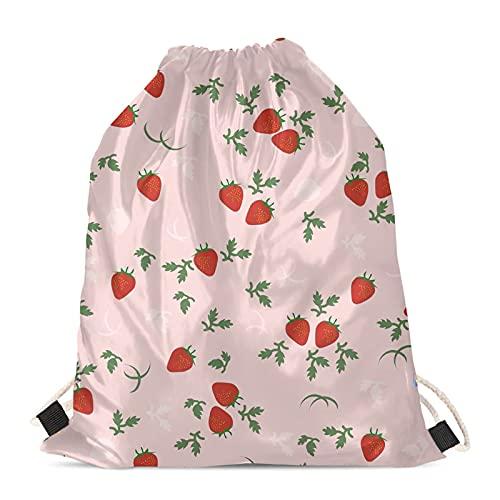 Strawberry - Bolsa con cordón para mujer y niña, bolsa de cincha de polietileno, para deportes, senderismo, gimnasio, viajes, playa, cadena de almacenamiento