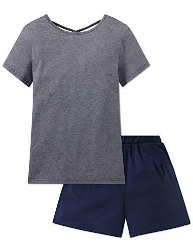 Schiesser Mädchen Anzug kurz' Zweiteiliger Schlafanzug, Blau (Blau 800), 176 (Herstellergröße: L)
