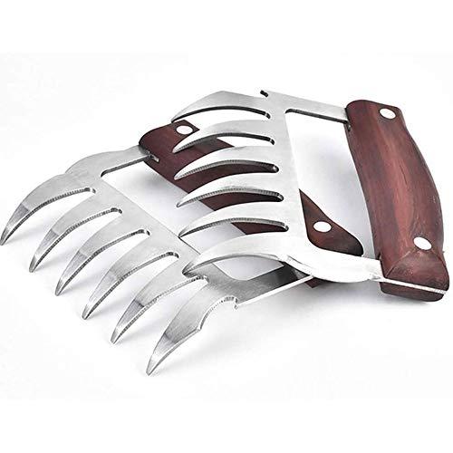 Adesign Fleisch Claws Shredder BBQ Bärentatzen Edelstahl-Set Metall Pulled Pork Hähnchen Grill Küche Claws mit Holzgriff for Schredder, Ziehen (Color : B)