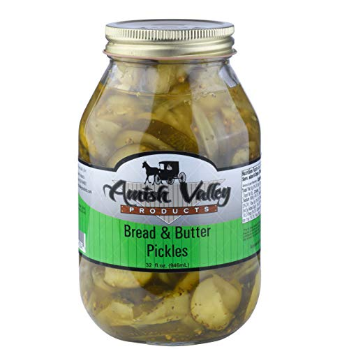 Amish Valley Products Bread and Butter Pickles Glass Quarts All Natural (One Qt Jar - 32oz)