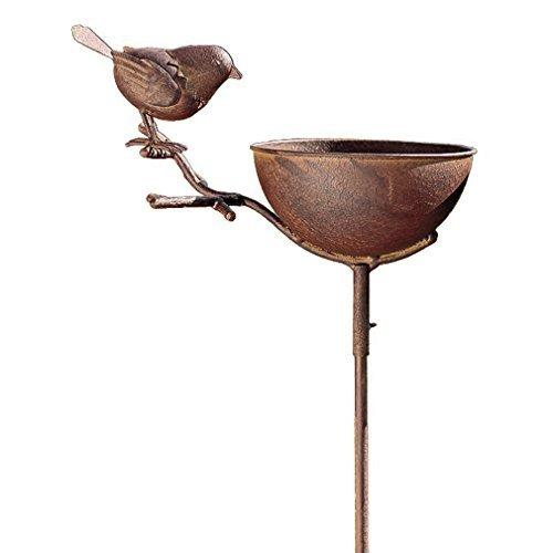 Vogeltränke Vogelbad + Stab Aufsteller in Rostoptik Metall - groß - Vogel Gartenstecker - Von Haus der Herzen®