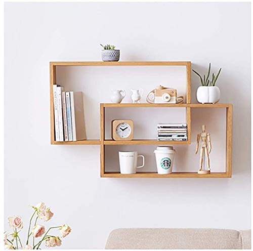 ZHAO Floating Shelves Wall Shelf, Solid Wood Multi-Layer Geometric Wall Mount, Double Ring Wall Storage Rack, Bedroom Living Room Storage Porch Bookcase