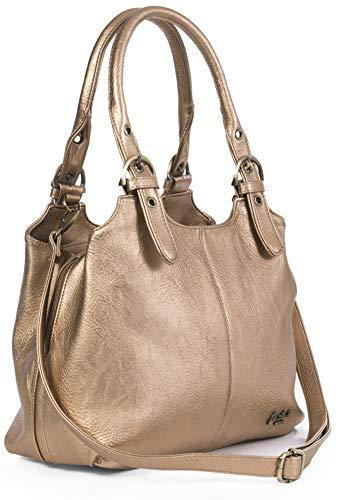 Mabel London Amelia Damen-Handtasche mit mehreren Fächern, mittlere Größe, mehrere Fächer mit langem Schultergurt Gr. One size, Rotgold (Metallic)