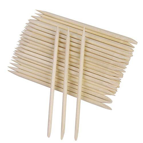 100 palillos de madera de naranjo de 11 cm, para empujar y retirar las cutículas y para manicura, arte de uñas y pedicura