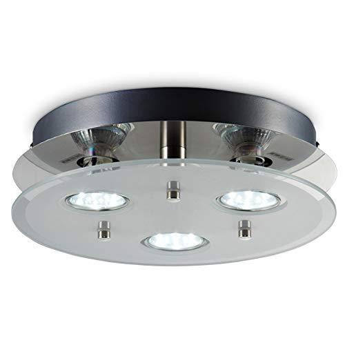 Plafoniera LED da soffitto, include 3 lampadine GU10 da 3W 250Lm, luce calda 3000K, lampada moderna da soffitto, lampadario rotondo diametro 25cm, metallo color nickel opaco e vetro, 230V IP20