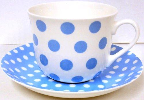 Bébé Pois Bleu Clair & pois tasse et soucoupe pour petit déjeuner en porcelaine fine décorée à la main au Royaume-Uni grande tasse et soucoupe de livraison gratuite au Royaume-Uni