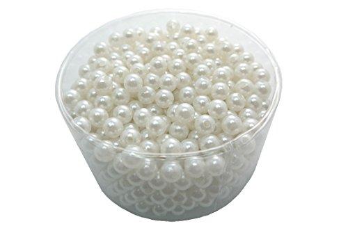 Perlen ca. 600 Stück mit Loch WEISS Ø 10 mm Hochzeit Deko Kunstperlen