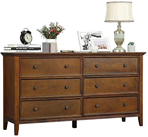 DICTAC Kommode mit 6 Schubladen, Kommode Vintage aus Massivholz, Organisator für Lagerturmkleidung, für großen Schrank, Schlafzimmer, Wohnzimmer (Vintage)