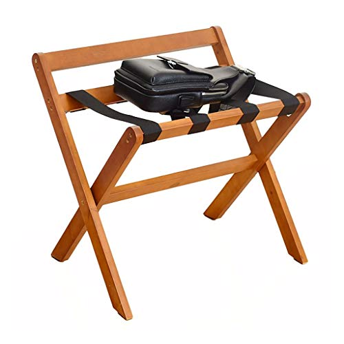Best Deals! GDXLJ Folding Luggage Rack Hotel Luggage Rack, Floor-Standing Bedroom Solid Wood Foldabl...