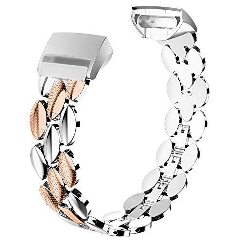 Wearlizer Compatible with Fitbit Charge 3 Bands for Women Metal Replacement Fit Bit Charge 3 hr Band Accessories Strap Bracelet Bangle Silver Rose Gold Black (Silver + Copper)
