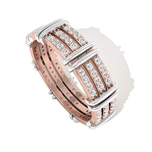 Anillo de eternidad de tres filas con certificado IGI de 0,60 quilates, diamantes de IJ-SI, anillos de boda, anillos de boda, mezcla de metal, para mujer, 14K Oro rosa, Size:EU 56