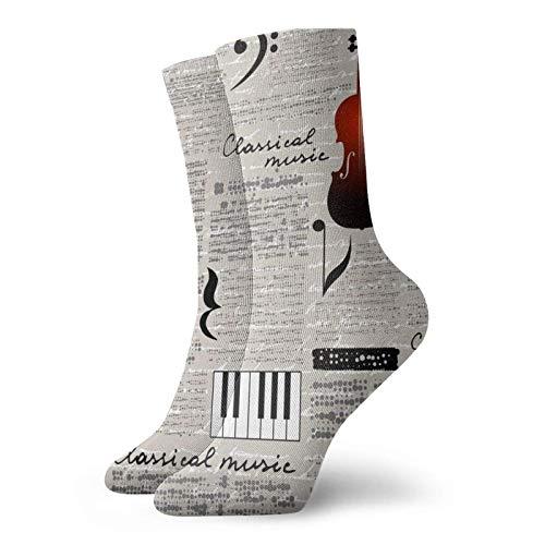 Fodmua Medias atléticas para violín de música clásica, calcetines para vestir para hombres y mujeres