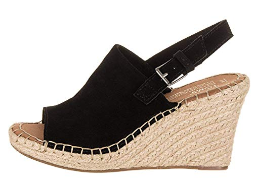 TOMS Women's, Monica Wedge Espadrille (6.5, Black Suede)