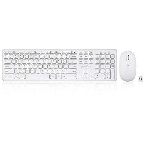 Perixx Periduo-610W - Juego de teclado y ratón inalámbricos (teclas y clics, tamaño completo, diseño de chiclet blanco, inglés de EE. UU.