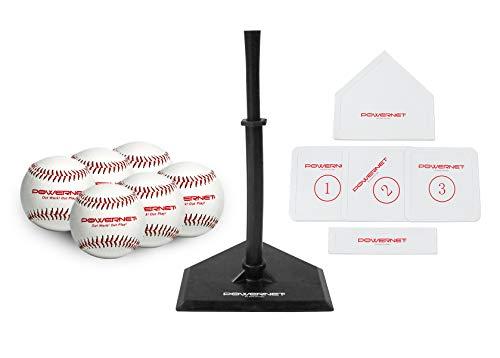 PowerNet Baseball T-Ball Coaching Bundle   8 Piece Tee-Ball Set Includes 6 Soft Core Baseballs, Adjustable Tee, 5 Throw Down Bases to Coach
