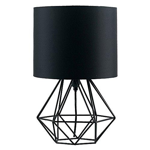 MiniSun – Schöne schwarze Tischlampe im retro Körbchenstil mit schwarzem Stoffschirm inklusive Kabel und Stecker – Tischleuchte