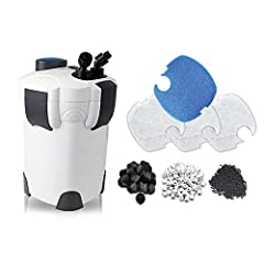 """HW-304B Pro Filtration Kit, Good for up to 150 gallon aquariums Flow rate: 525 GPH (2000L/Hr) Dimension: 11"""" L X 11"""" W X 17"""" H Pro Kit Includes Canister Filter w/9 Watt UV, 4 White Filter Pads, 1 Blue Coarse Pad, 4 Media Baskets Includes 1lb of Premi..."""