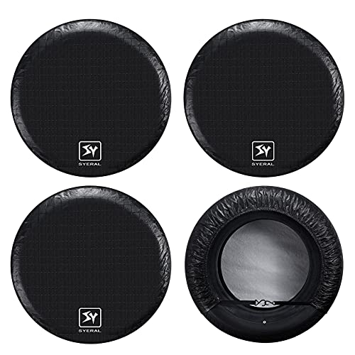 SYERAL RV Tire Covers Set of 4, Waterproof Anti-UV Snow Sun Rain Wheel Tire Protectors Covers for...