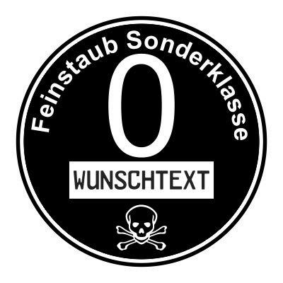 stickerpoint24 Euro 0 Plakette Aufkleber Feinstaub Sonderklasse Diesel Umweltplakette Wunschtext