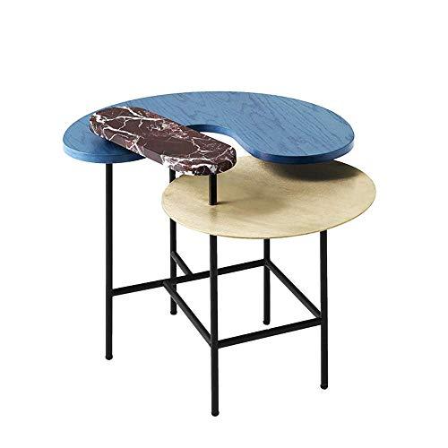 N/Z Equipo de Vida Mesa de Centro de mármol Minimalista nórdico Paleta de Colores claros Mesa de té Mesa de salón Creativa Mesa Redonda