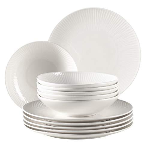 MÄSER 931461 Dalia, Tafelservice für 6 Personen aus hochwertigem Hotelporzellan in Weiß, 12-teiliges Teller Set in Vintage Design, Durable Porzellan