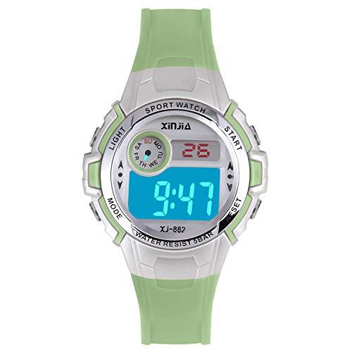 Reloj Digital para Niña Niño,Chicos Chicas 50M Impermeable Deportes al Aire Libre LED Multifuncionales Relojes de Pulsera con Alarma(Verde)