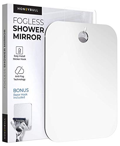 HONEYBULL Shower Mirror (Large 8x10 inches) Flat Fogless Mirror with Razor Hook, Travel Sized, Anti Fog Technology, Waterproof & Shatterproof, Bathroom Accessories for Men & Women