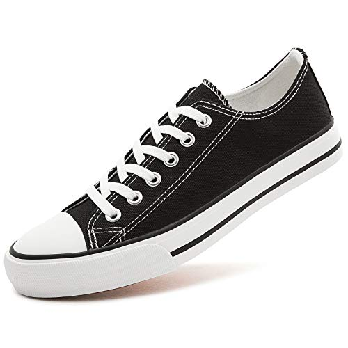 AOMAIS Womens Canvas Shoes Sneaker Low Top Lace up Fashion Walking Shoes (US6, black1)