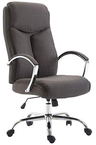 CLP Bürostuhl XL Vaud mit Stoffbezug, Chefsessel, Drehstuhl mit Armlehnen, Bürodrehstuhl mit hochwertige Polsterung, max. Belastbarkeit 140 kg, Farbe:dunkelgrau