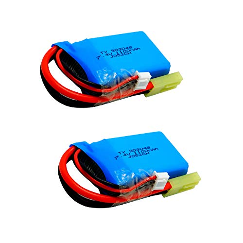 2pcs 7.4V 1100mah 20C LiPo Battery Small Tamiya Plug for PXtoys 9300/9301/9301-1/9302/9303/9303-1 1/18 Rc Car