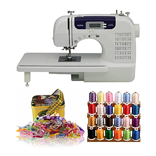 Brother CS6000i Sewing and Quilting Machine with 100 Sewing Clips and Polyester Embroidery Sewing Threads Bundle (3 Items)
