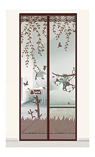 DAZUE Puerta Magnética con Mosquitera Fácil De Instalar Sin Perforar Sala De Estar Habitación para Niños Mono Patrón De Dibujos Animados,Brown-110x200cm