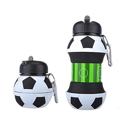 LGQ Botella De Agua De Silicona Plegable con Forma Durable Y A Prueba De Fugas Idea De Fútbol Botella De Agua para Bicicleta Deportiva De Viaje (Paquete De 2)