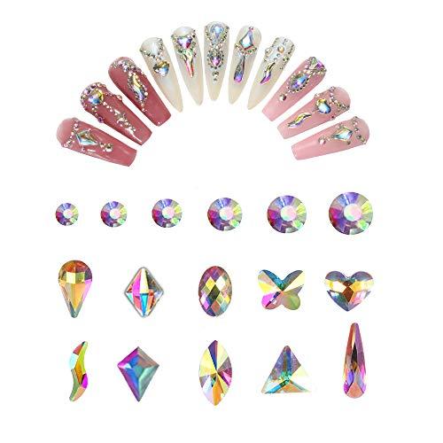 200+1440 pcs Rhinestones for Nails art Rhinestones, Multi Shapes ab Crystal Nail Gems and Rhinestones, Nail DiamondsFlat Back Glass Nail Jewels Charms for Nails Decorations Clothes Shoes Bag