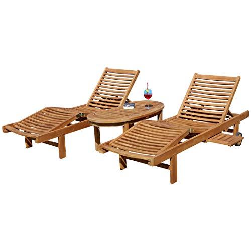 ASS 2X Hochwertige Teak Sonnenliege Gartenliege Strandliege Liegestuhl Holzliege Holz sehr robust Modell: Cozy+ 1x Beistelltisch Coco 110x50cm von