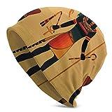 setyserytu Bonnet Tricoté, Beanie Men Women Ancient Egyptian Sun Life Warm Skull Knit Hat Unisex Slouchy Soft Headwear Cuffed Cap Black