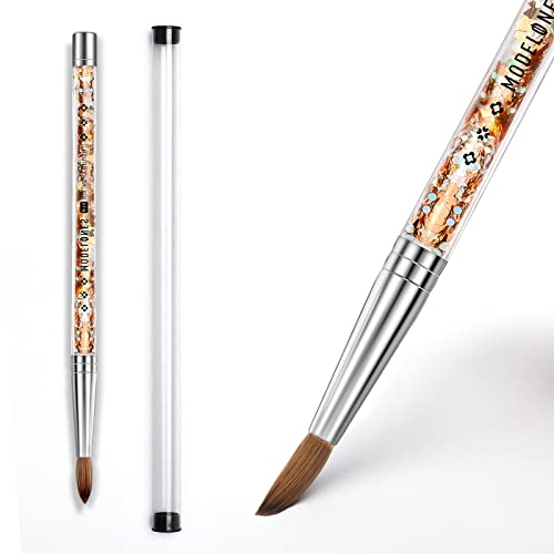 Modelones Acrylic Nail Brush Size 14, 100% Kolinsky Sable Nail Art Acrylic Brush for Acrylic Powder Drawing Application with Liquid Glitter Handle