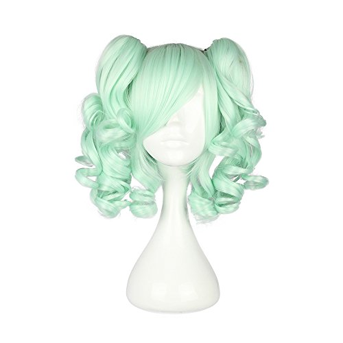 """Mcoser 13"""" Multi-color Lolita short Straight Clip on Ponytails Cosplay Wig (Green)"""