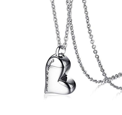 VNOX Damen Edelstahl Herz Feuerbestattung Urne Asche Anhänger Halskette Forever In My Heart Gravur
