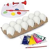 com-four® 19-teiliges Eier-Malset für Kinder, Deko-Eier mit Malfarbe und Pinsel sowie Eiermalmaschine für Ostereier, Eier zu Ostern selbst bemalen (19-teilig...