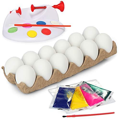 com-four® Juego de Pintar Huevos de 19 Piezas para niños, Huevos Decorativos con Pintura y Pincel y máquina para Pintar Huevos para Huevos de Pascua (19 Piezas - Set de Pintura - Huevos de Pascua)