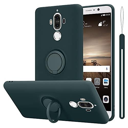 Cadorabo Funda Compatible con Huawei Mate 9 en Liquid Verde - Funda para Teléfono Móvil Hecha de Silicona TPU Flexible con Anillo - Funda Trasera Ultradelgada Parachoques