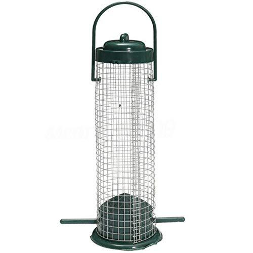 Fengshunte Comedero de pájaros para colgar al aire libre, de plástico verde oscuro y rejilla resistente a la intemperie, balcón al aire libre