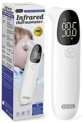 Thermometer for Adults and Babies, FACEIL Non-Contact Thermometer Forehead with Object Mode Function,Fever Alert and 32 Set Recall Reading,Best Care Accurate Thermometer for Fever