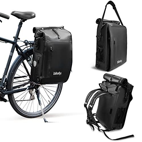 3in1 Fahrradtasche | Verwendbar als Gepäckträgertasche, Rucksack & Umhängetasche | Wasserdicht & Refklektierend | Einfacher & fester Halt am Gepäckträger durch einzigartiges Klicksystem (Schwarz, 22L)
