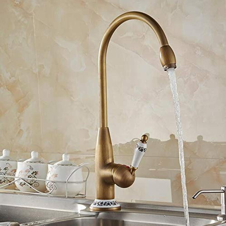 Willsego Wasserhahn Küchenarmaturen Antike Bronze Wasserhahn für Küchenmischbatterie mit Keramikkran Kalt und Hei Spüle Wasserhahn Mischer 4116F (Farbe   -, Gre   -)