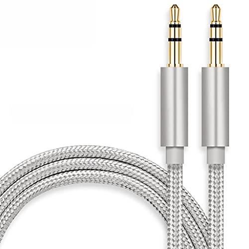 LLRZ Conectores Cable AUX 3.5mm Cable de Audio Macho a Hombre Audio Auxiliar Audio Cordón Estéreo para Auriculares, Coche, Estéteres para Hogar, Altavoz Accesorios (Color : Silver, tamaño : 2m)