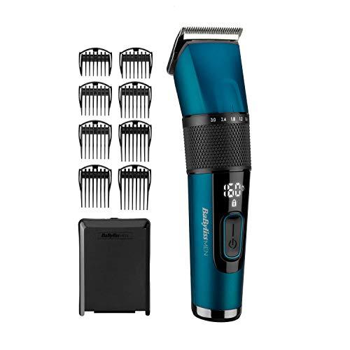 BaByliss Japanese Steel Digital Haarschneider E990E mit 45 Längeneinstellungen durch Drehrad und 8 Kammaufsätzen, kabellos, 160 Minuten Laufzeit